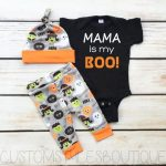Baby Boys First Halloween Outfit, Black Infant Bodysuit, Grey And Orange Leggings And Hat, Baby Boy Halloween Outfit Set