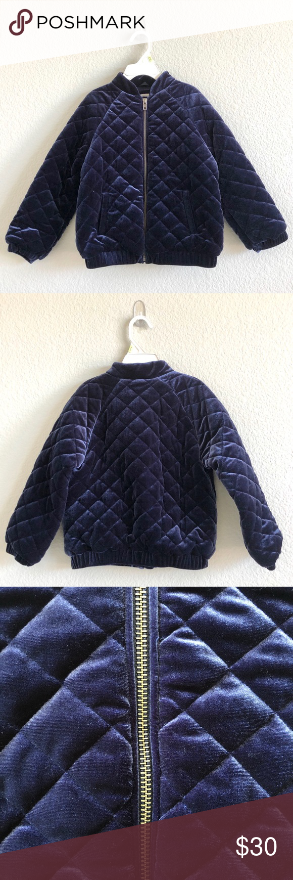 Baby Gap Blue Velvet Flight Jacket This pre-loved velvet flight jacket by Baby G…