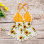 Baby Girl Lace Trim Backless Sunflower Romper