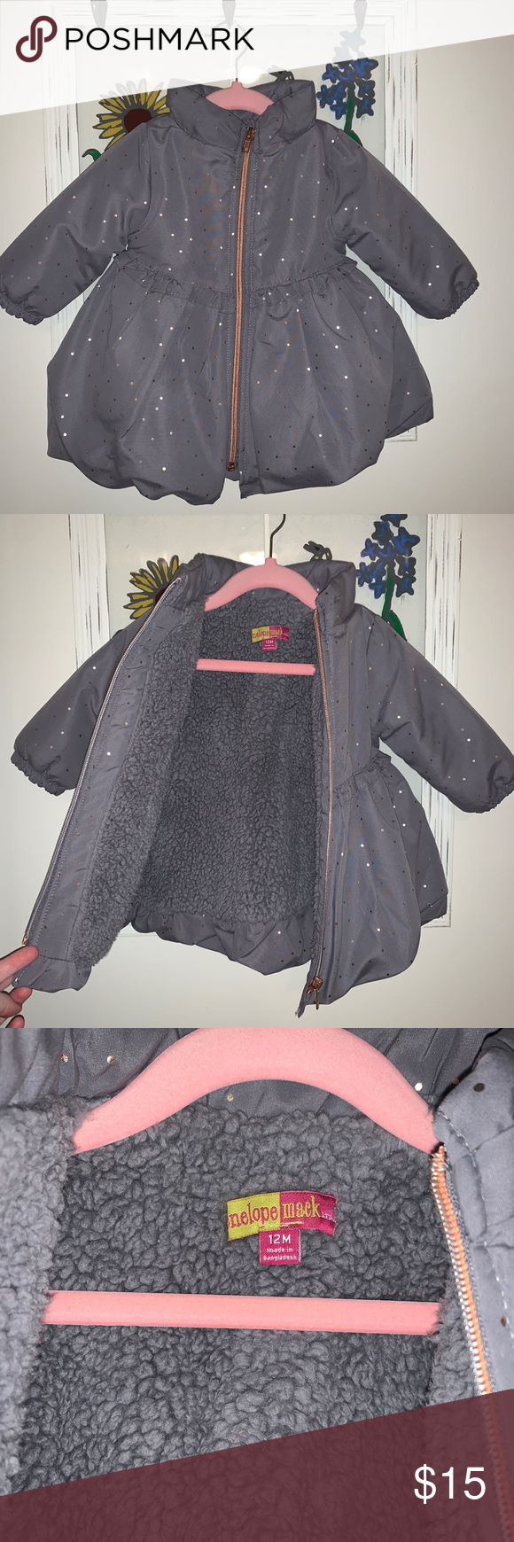 Baby Girl Puffy Winter Coat Beautiful dark gray with gold polka dots tailored pu…