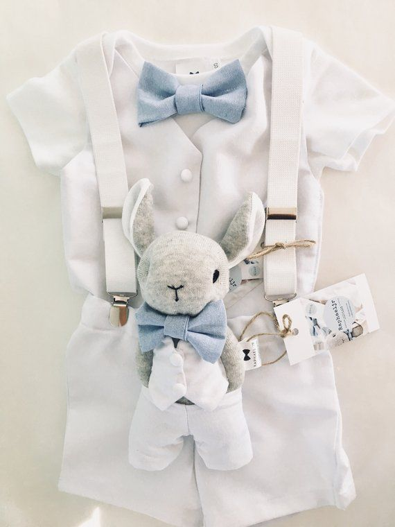 Baby boy 100% cotton summer Baptism outfit with White bodysuit, vest, beige/blue/grey/white bow tie and shorts. Optional suspenders cap/shoe