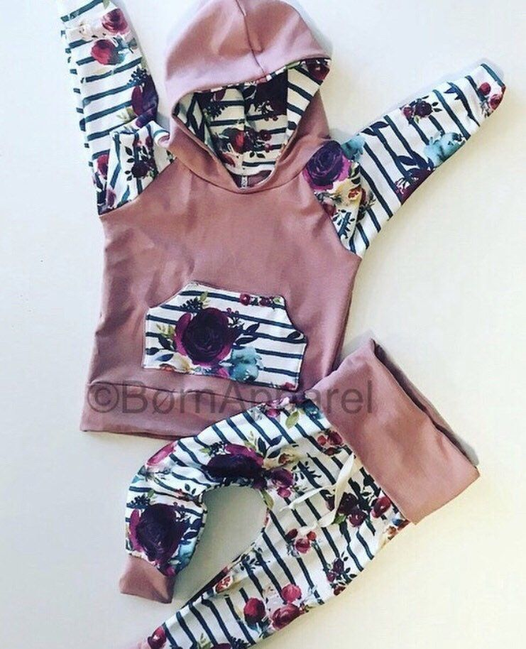 Baby girl floral clothes, handmade baby girl clothes, boho, mauve, cute baby girl clothes, toddler girl outfit, coming home outfit, newborn