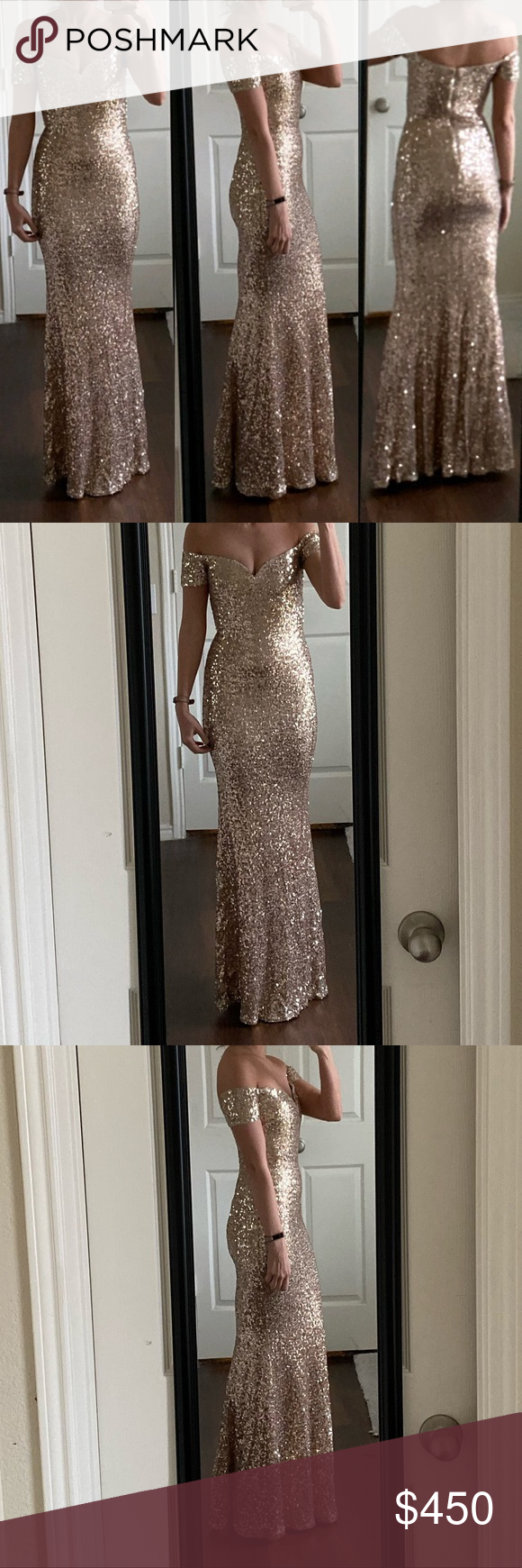 Badgley Mischka gold sequin off shoulder gown Excellent condition! Shows light w…