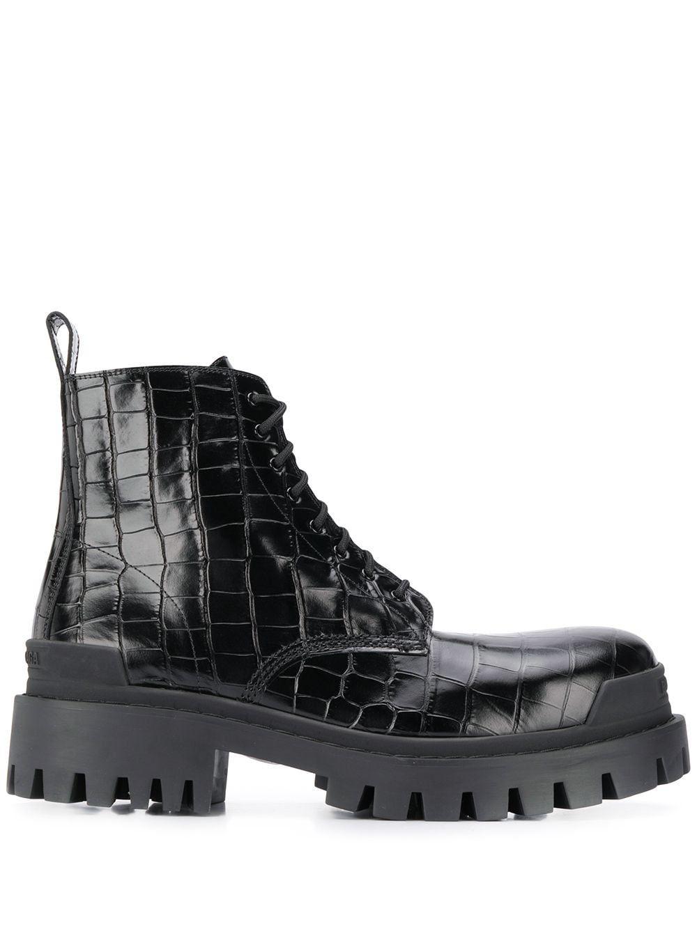 Balenciaga crocodile-effect biker boots – Black