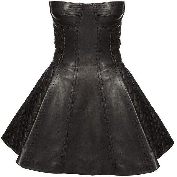 Balmain Leather Bustier Dress (110.965 RUB) found on Polyvore