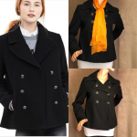 Banana Republic Wool blend sailor pea coat Black Pea Coat by Banana Republic. Wo...