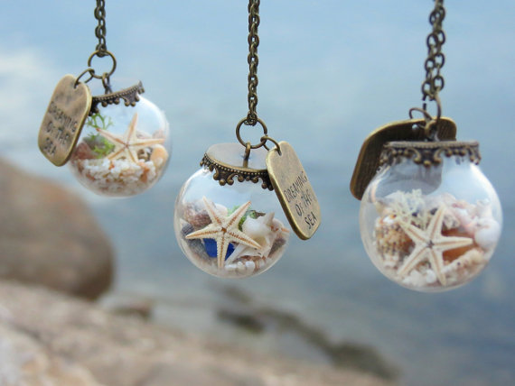 Beach Terrarium Necklaces For Women Dreaming Of The Sea Ocean Christmas Gift For Women Beach Jewelry Gift For Her Sea Shell Unique gifts