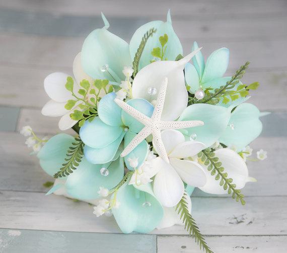 Beach Wedding Bouquet, Tropical Bouquet, Silk Wedding Bouquets, Real Touch Bouquet, Aqua Bouquet, Turquoise Bouquet, Beach Wedding Flowers