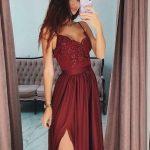 Beautiful Prom Dresses, Fashion A-Line/Princess V-neck Sleeveless Floor-Length Lace Satin Dresses YB33PO1910
