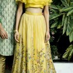 Beautiful Silk Embroidered Lehenga with ruffled blouse.  Stylish and modern silh...