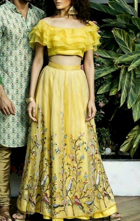 Beautiful Silk Embroidered Lehenga with ruffled blouse.  Stylish and modern silh…