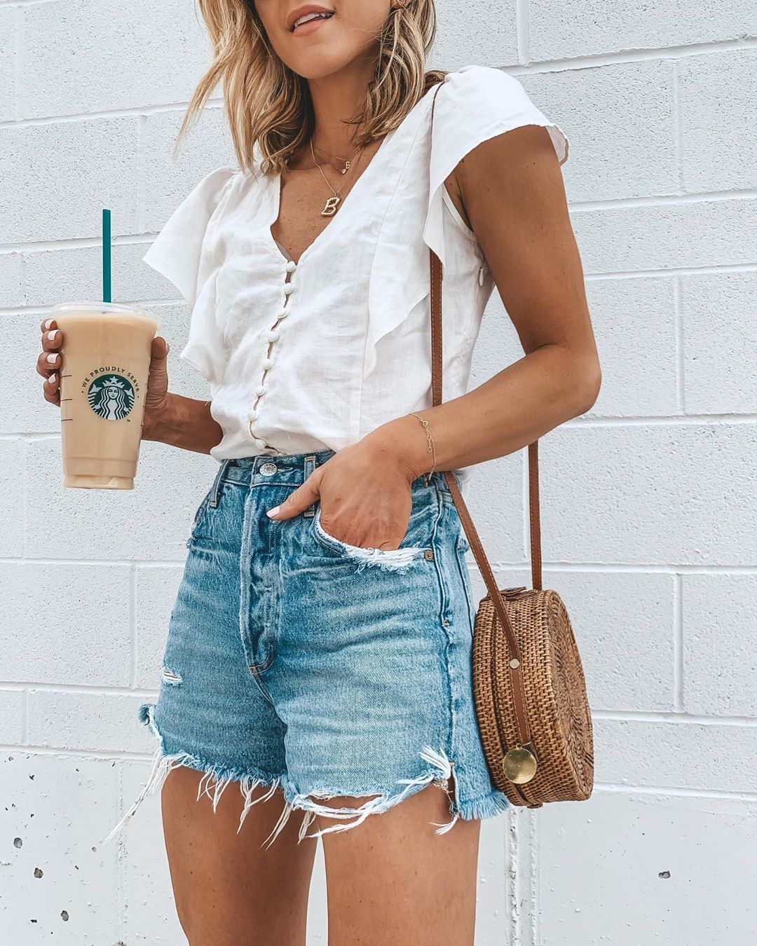 "Becky Hillyard // Cella Jane on Instagram: ""Weekend ready. 🖤☕️ I'm wearing my favorite denim jeans shorts- love the flattering high waist fit and they cover your bum🙌🏻 ps- my top is…"""