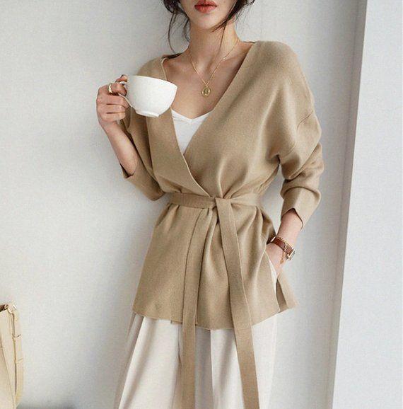 Beige Loose Knit cardigan, Kimono , Kimono cardigans , knit robe , sweaters for women , sweaters , l