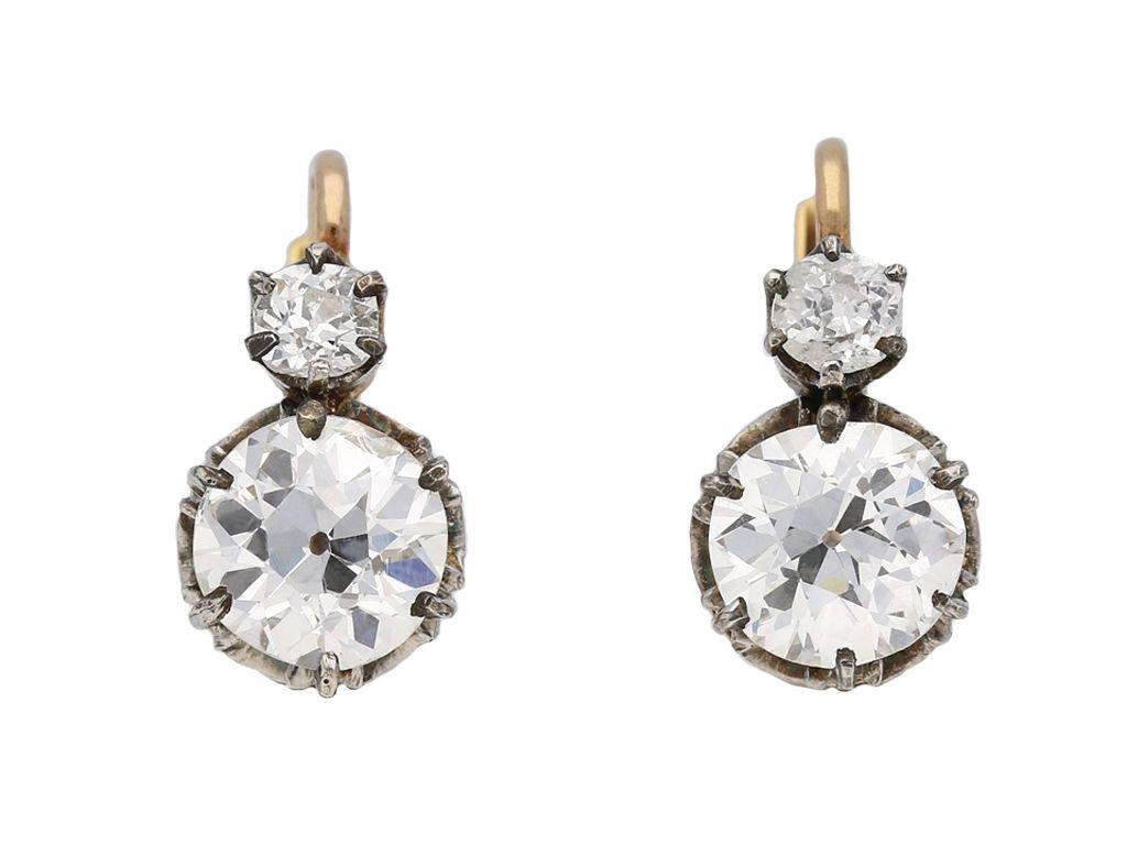 Belle Époque diamond drop earrings, circa 1915