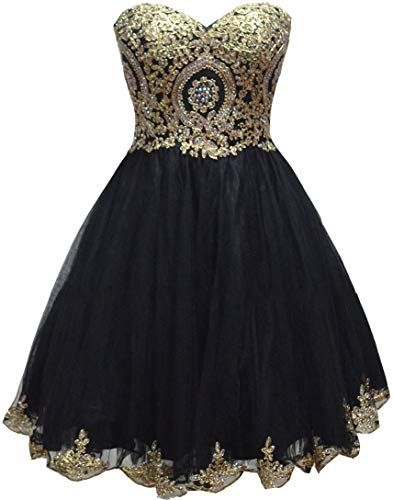 Best Seller Lemai Tulle Little Black Short Gold Lace Corset Prom Homecoming Cocktail Dresses online