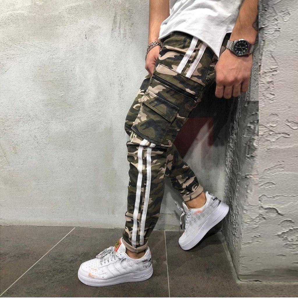 Best Seller Men Hip Hop camouflage printed stitching striped harem Pants