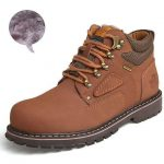 Big Size Men Ankle Boots / Genuine Leather Men Work & Safety Boots huang se with