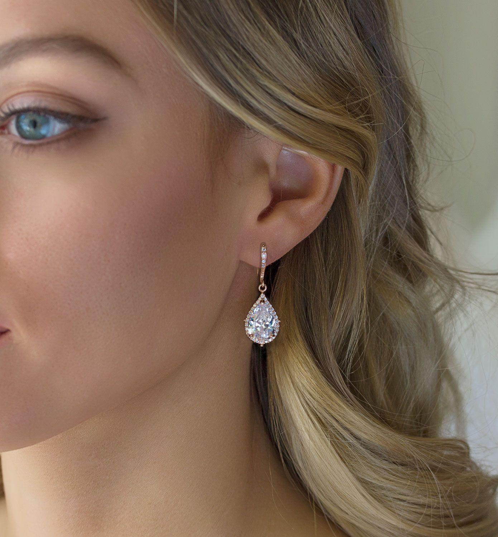 Bijoux de mariage, boucles d'oreilles en or Rose, mariage boucles d'oreilles, bijoux de mariée, Drop boucles d'oreilles, bijoux en or Rose, boucles d'oreilles, en forme de larme, E055