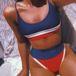 Bikini Swimsuit. Striped swimsuit. Red white and blue swim suit. Swimsuit. Summe...
