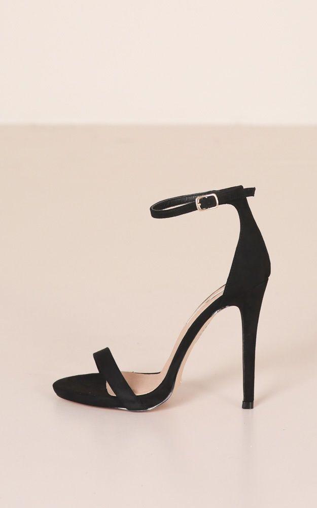 Billini – Della Heels In Black Micro Produced