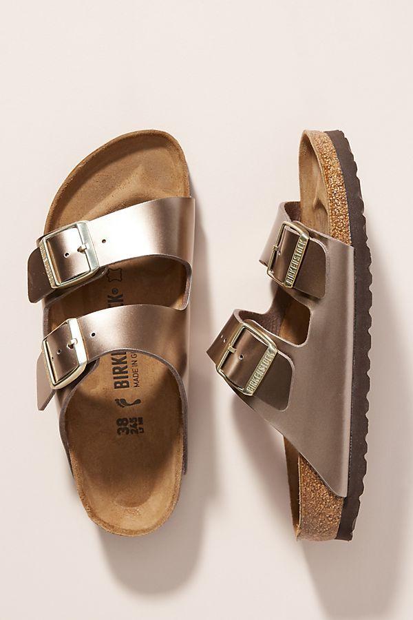 Birkenstock Metallic Arizona Sandals by in Silver Size: 37, at Anthropologie