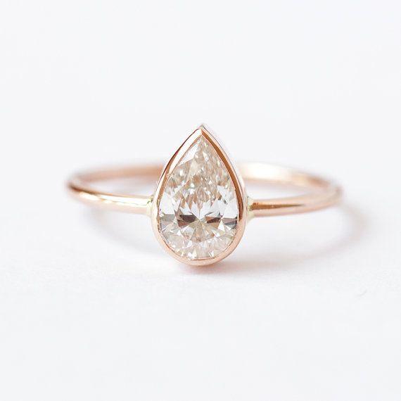 Birnenförmig Verlobungsring, Birne Diamant Ring, Solitär Verlobungsring, Rose Gold Verlobungsring, 0,75 Karat-Diamant-Ring, Birne geschnitten Ring