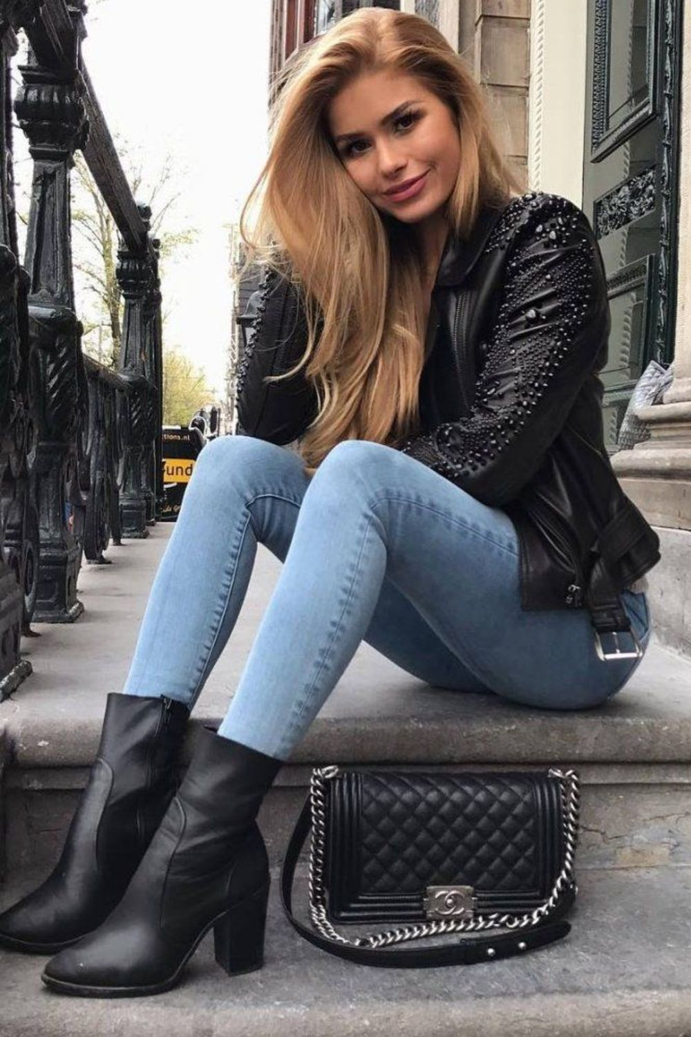 Black Ankle Boots Fall Outfit With Denim Jeans And Faux Leather Jacket