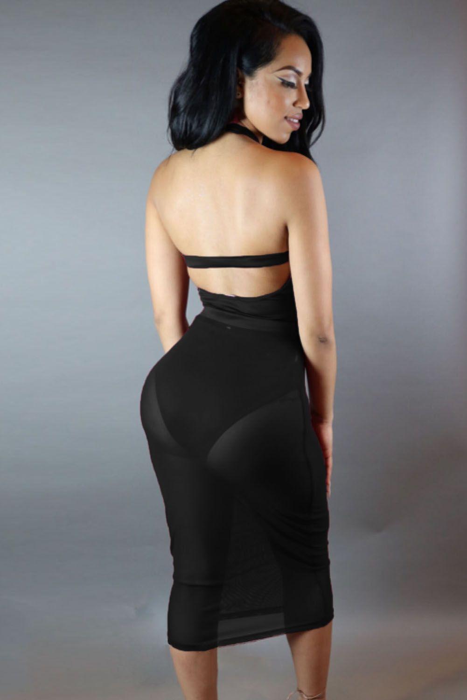 Black Caged Sheer Mesh Bandage Skirt Bodysuit With