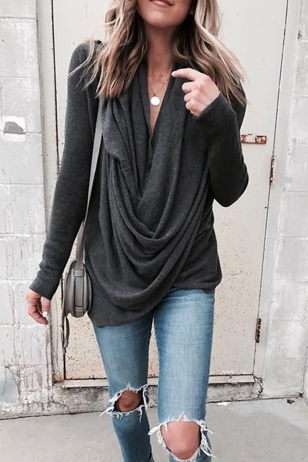 Black Draped Long Sleeve Casual Top