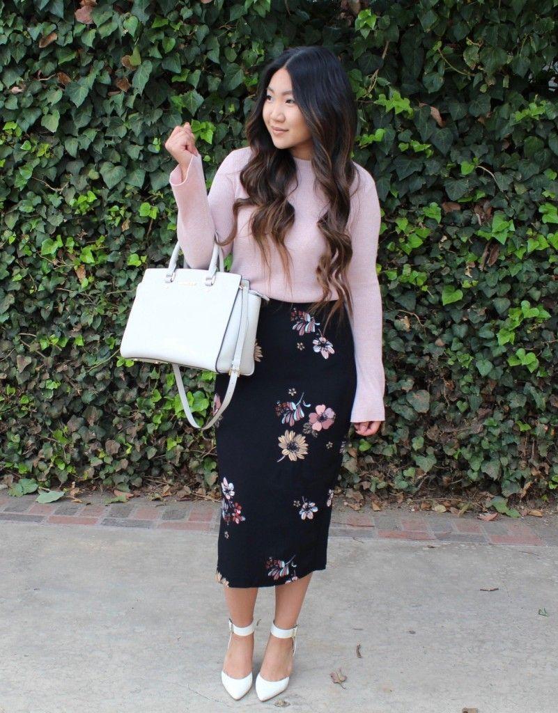 Black Floral Midi Pencil Skirt