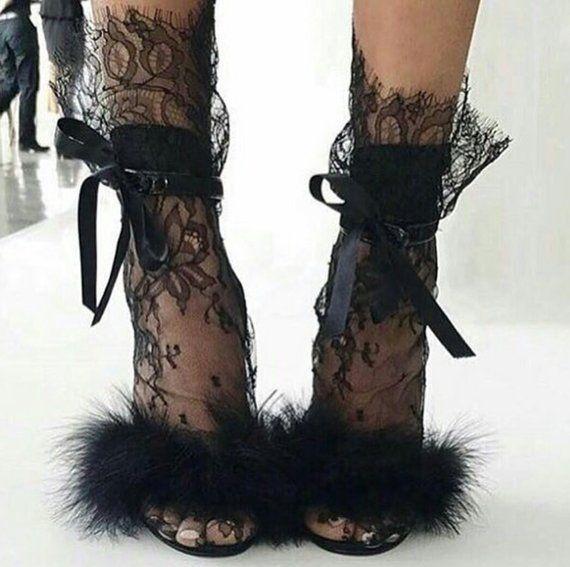 Black Lace Socks – Bridal Lace socks – Sexy Socks – White socks – White tulle socks – Fashion socks – Designer socks socks for woman