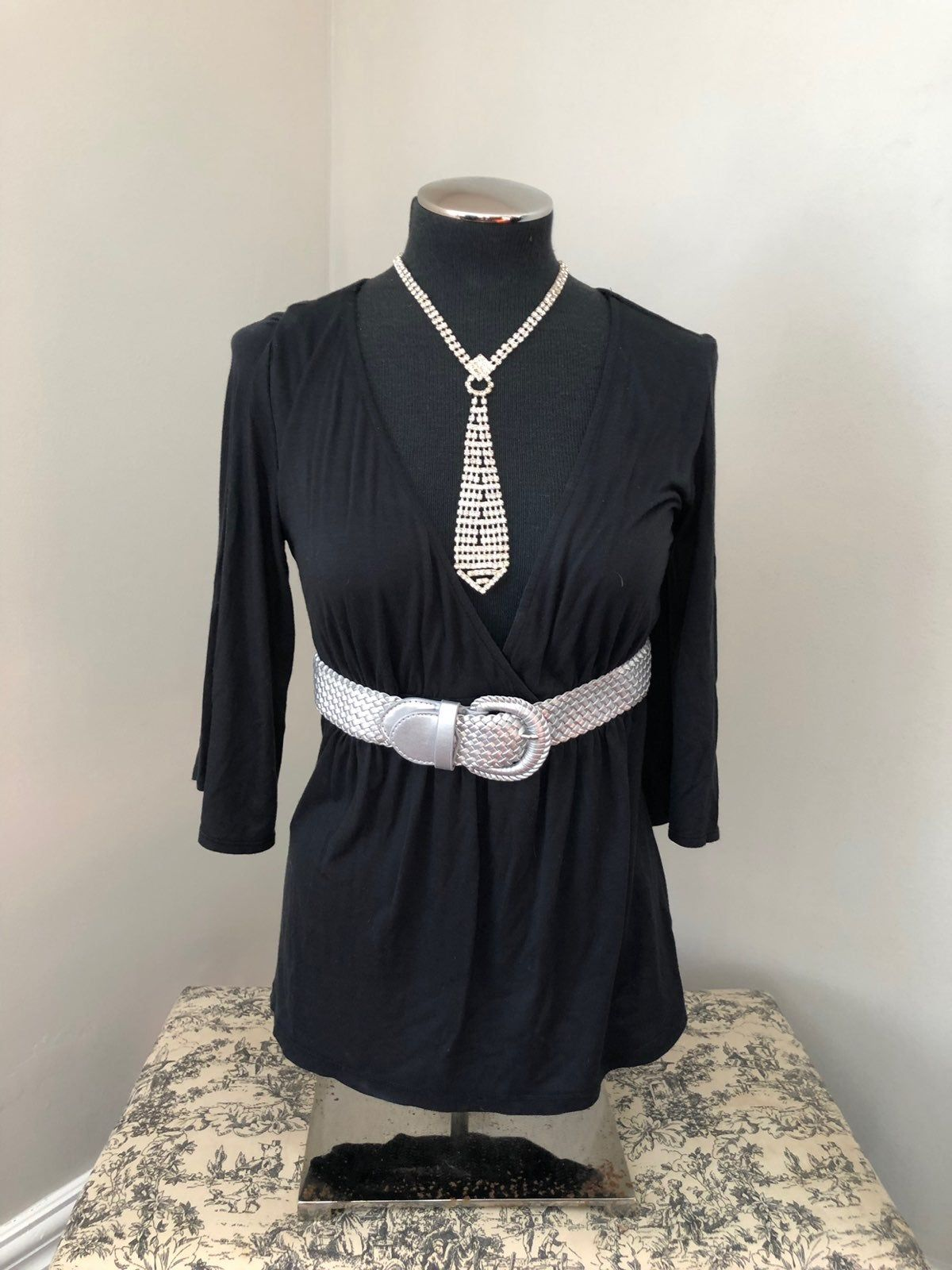 Black Low Cut Blouse Medium Express