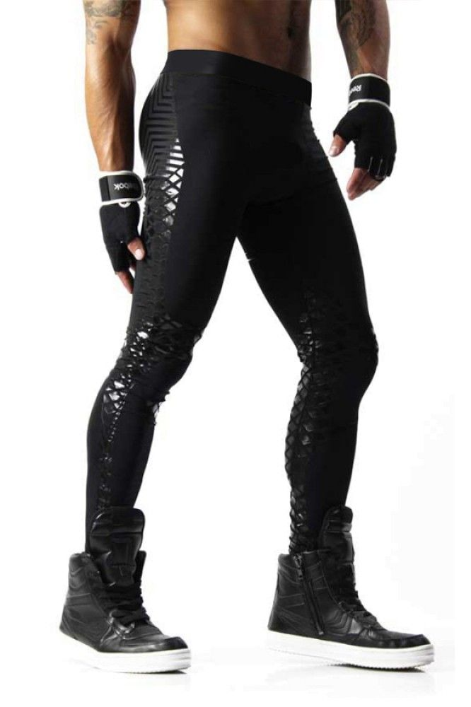 Black Mens Leggings With Shiny Print