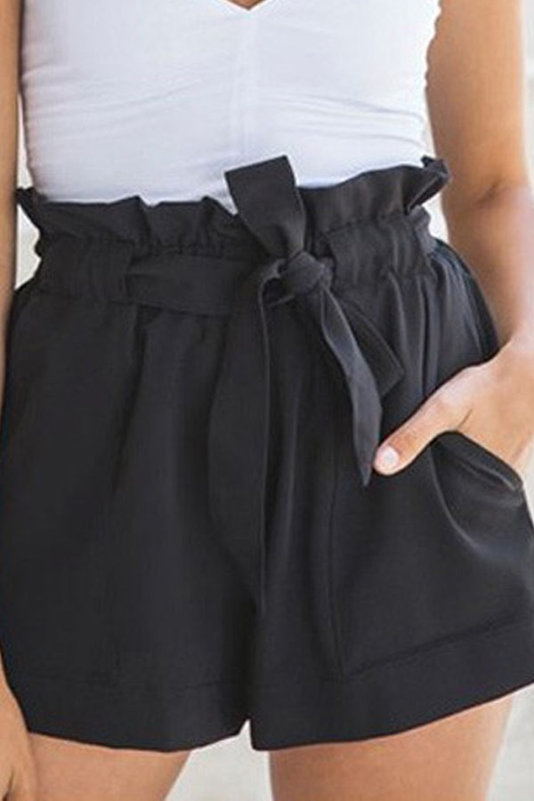 Black Ruffle Design Waist Tie Chiffon Shorts