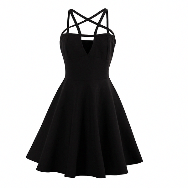Black Summer Pentagram Strap Dress