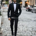 Black Wedding Tuxedos One Button Side Slit Classic Fit Notch Lapel Groom Tuxedos Groomsman Su...