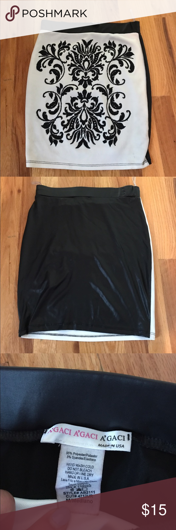 Black and white leather skirt Black and white skirt with design on the front. Th…