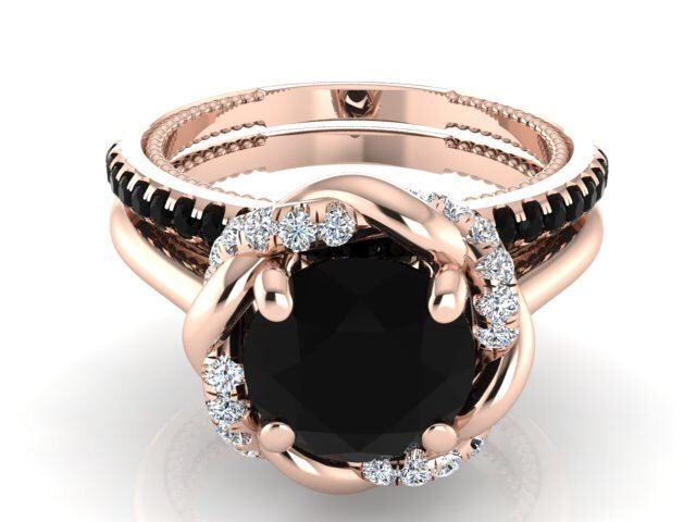 Black diamond ring set, rose gold engagement ring set, Black boho Engagement Ring set, rose gold black diamond rings, boho wedding ring set