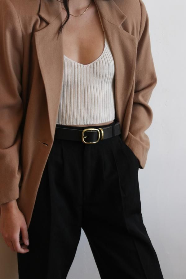 Black leather belt | brass