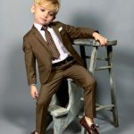 Black n Bianco Boys' First Class Slim Suit in Brown