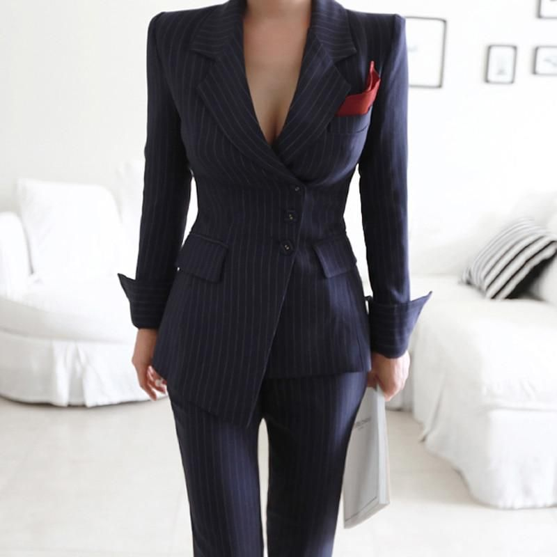 Blazer Jacket and Slim Pencil Pant Business Suits