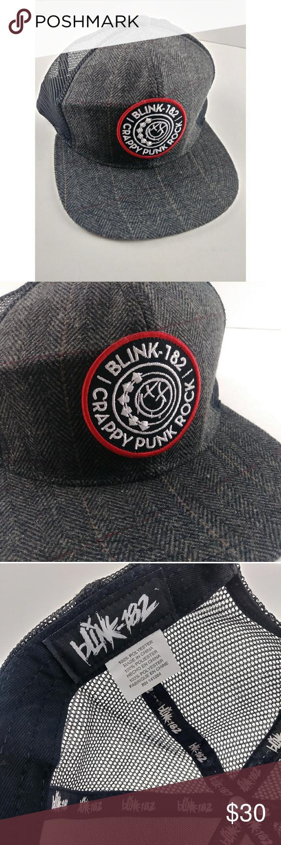 Blink 182 Crappy Punk Rock Snapback Trucker Plaid Blink 182 Crappy Punk Rock Sna…