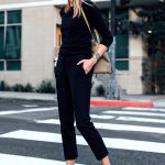 Blonde Woman Wearing Black Sweater Ann Taylor Black Ankle Pants Chanel Slingback...