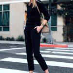 Blonde Woman Wearing Black Sweater Ann Taylor Black Ankle Pants Chanel Slingback...