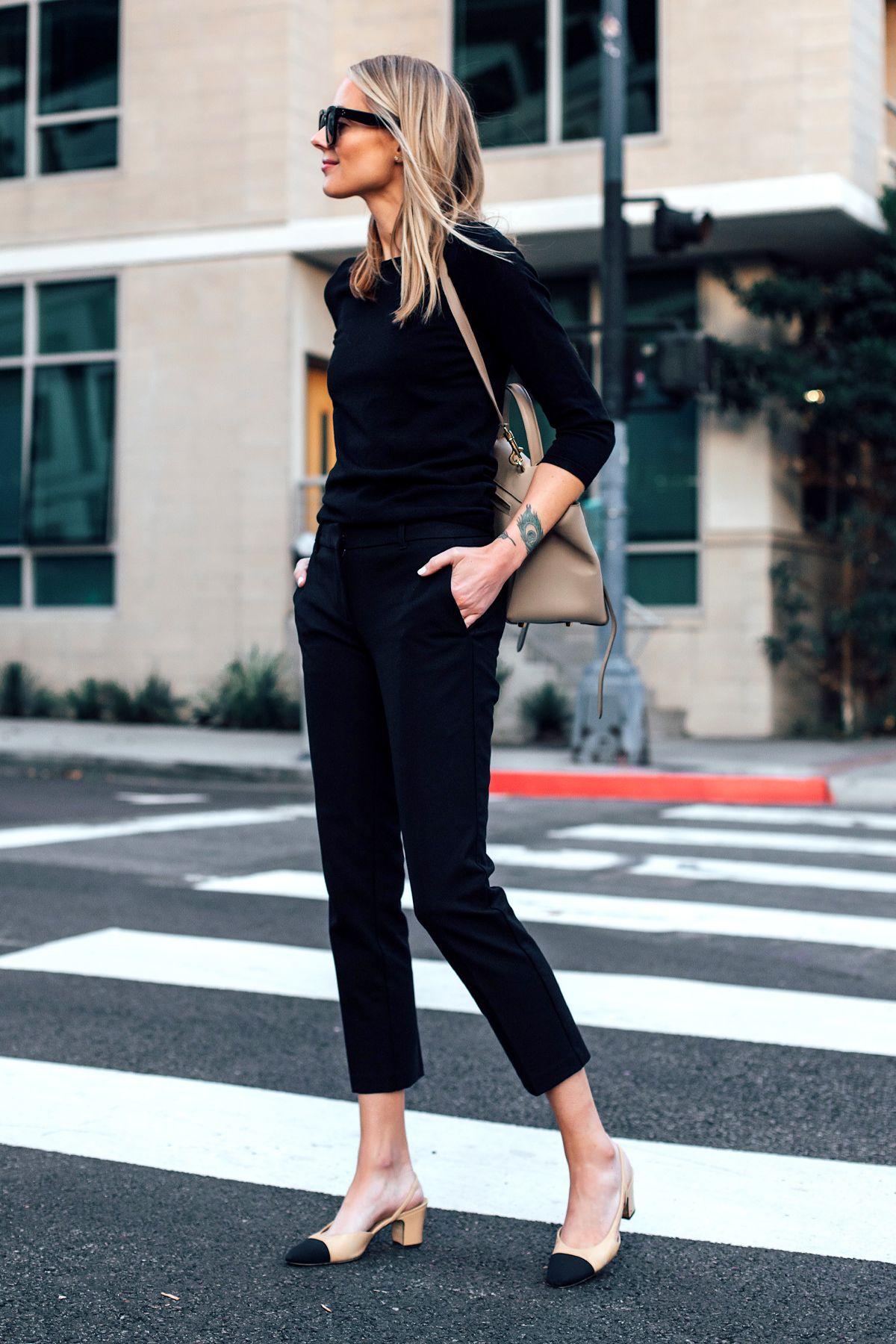 Blonde Woman Wearing Black Sweater Ann Taylor Black Ankle Pants Chanel Slingback…