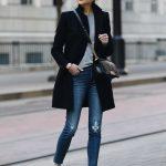 Blonde Woman Wearing Zara Black Wool Coat Grey Sweater Madewell Denim Jeans adid...