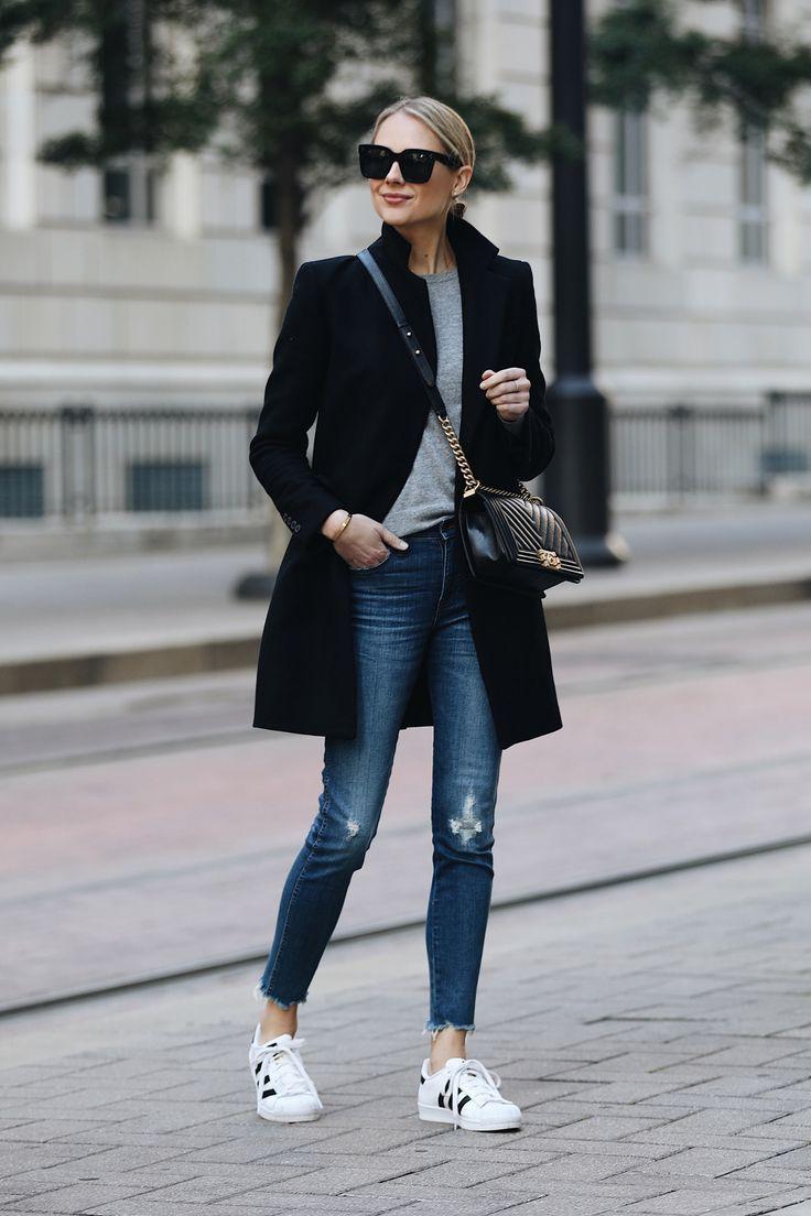 Blonde Woman Wearing Zara Black Wool Coat Grey Sweater Madewell Denim Jeans adid…