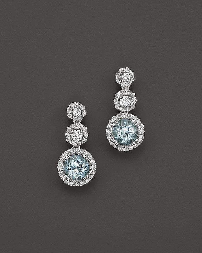 Bloomingdale's Aquamarine and Diamond Drop Earrings in 14K White Gold – 100% Exclusive