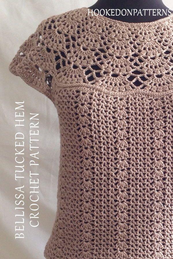 Blouse Crochet Pattern – Bellissa Tucked Hem Top