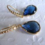 Blue Dangle Earrings, Blue Sapphire Earrings,September Birthstone, Blue Earrings, Gold Dangle earring, Gift for her, wife, mom, friend Gift